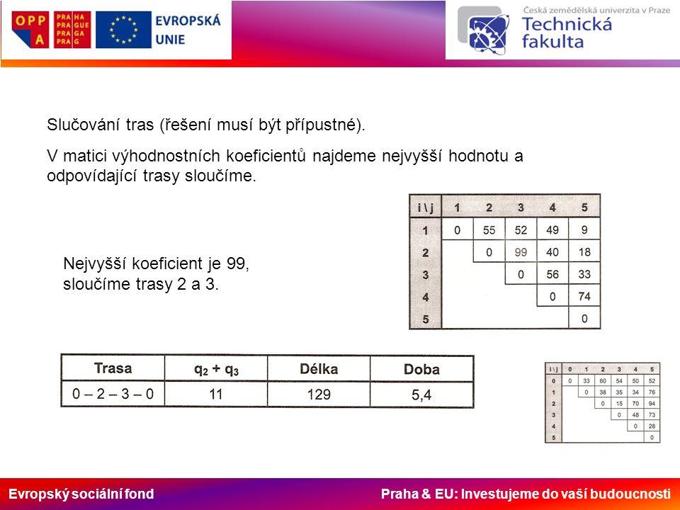 Evropský sociální fond Praha & EU: Investujeme do vaší budoucnosti Slučování tras (řešení musí být přípustné).