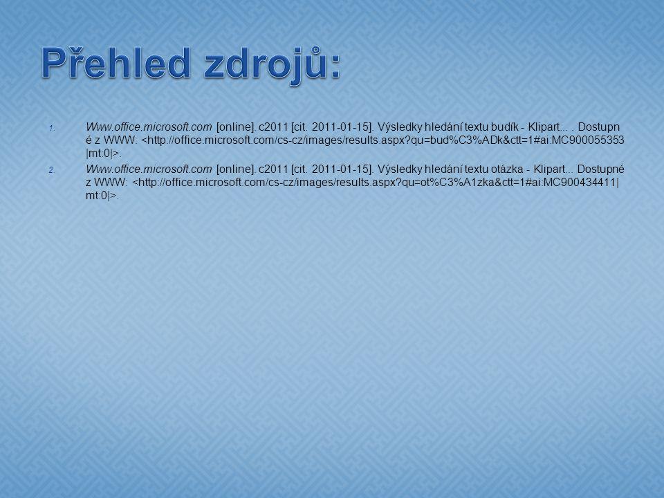 1. Www.office.microsoft.com [online]. c2011 [cit. 2011-01-15]. Výsledky hledání textu budík - Klipart.... Dostupn é z WWW:. 2. Www.office.microsoft.co