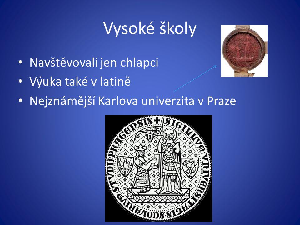 Vysoké školy Navštěvovali jen chlapci Výuka také v latině Nejznámější Karlova univerzita v Praze