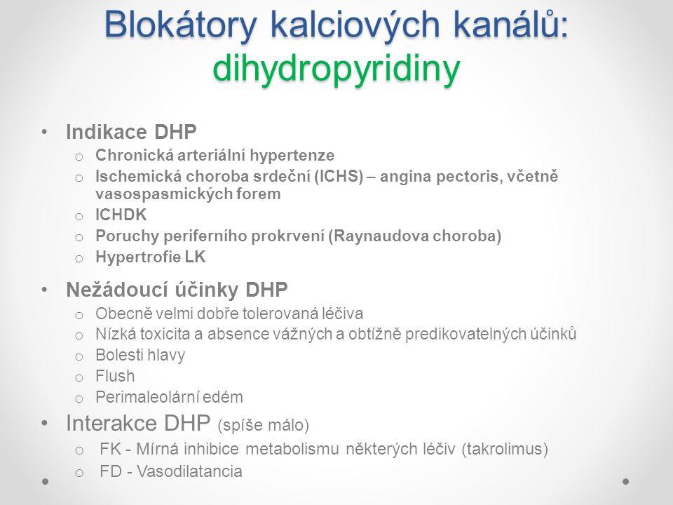 Blokátory kalciových kanálů: dihydropyridiny Indikace DHP o Chronická arteriální hypertenze o Ischemická choroba srdeční (ICHS) – angina pectoris, vče