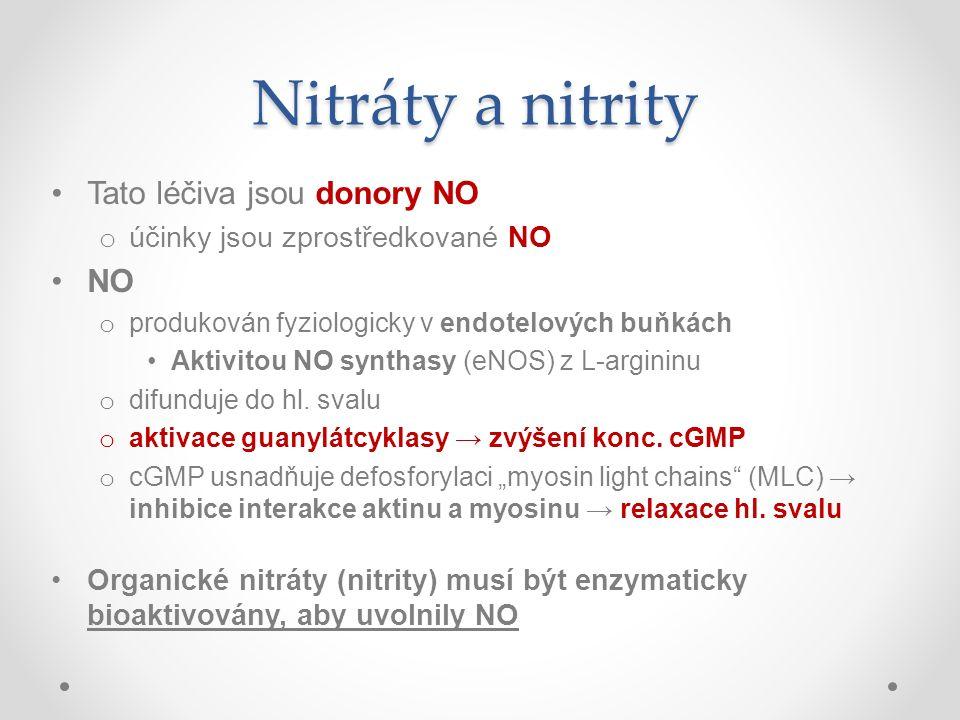 Nitráty a nitrity Tato léčiva jsou donory NO o účinky jsou zprostředkované NO NO o produkován fyziologicky v endotelových buňkách Aktivitou NO synthas