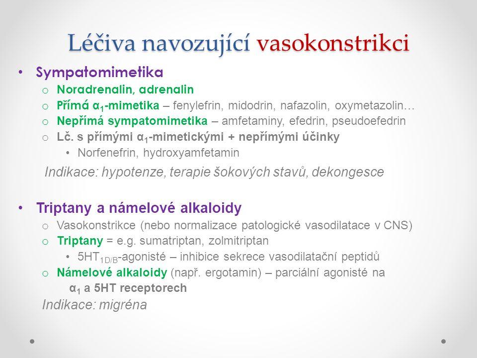 Léčiva navozující vasokonstrikci Sympatomimetika o Noradrenalin, adrenalin o Přímá α 1 -mimetika – fenylefrin, midodrin, nafazolin, oxymetazolin… o Ne