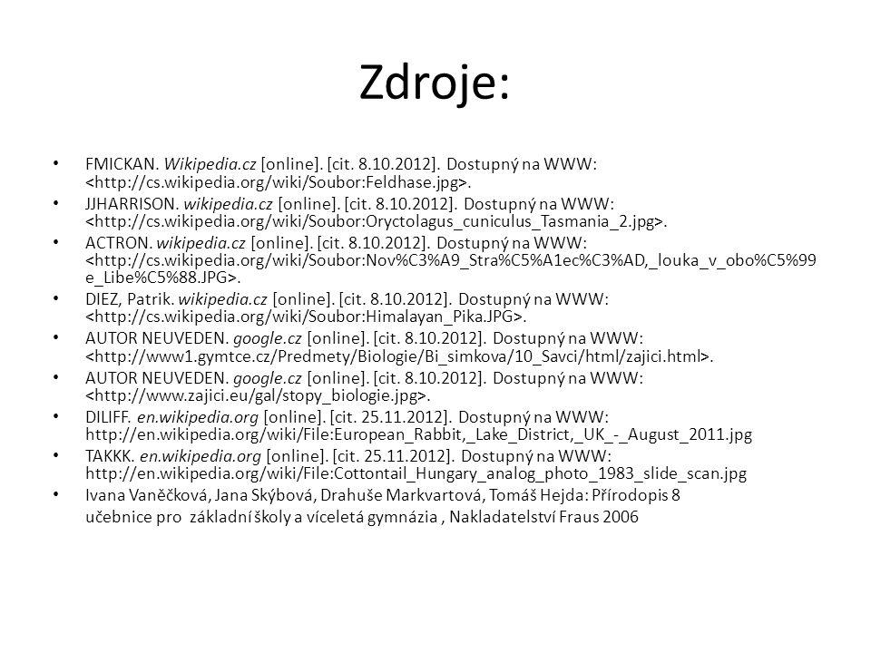 Zdroje: FMICKAN. Wikipedia.cz [online]. [cit. 8.10.2012]. Dostupný na WWW:. JJHARRISON. wikipedia.cz [online]. [cit. 8.10.2012]. Dostupný na WWW:. ACT