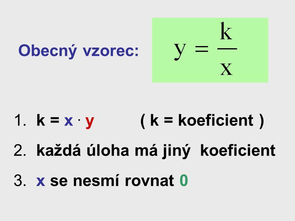 Obecný vzorec: 1.k = x. y ( k = koeficient ) 2. každá úloha má jiný koeficient 3.