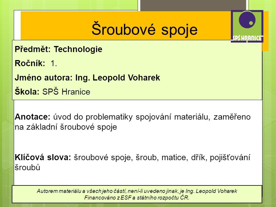 Šroubové spoje Předmět: Technologie Ročník: 1. Jméno autora: Ing.