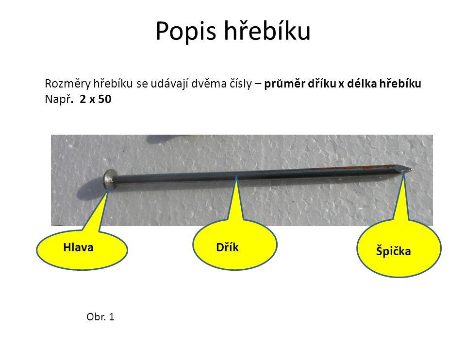 Popis hřebíku HlavaDřík Špička Rozměry hřebíku se udávají dvěma čísly – průměr dříku x délka hřebíku Např.