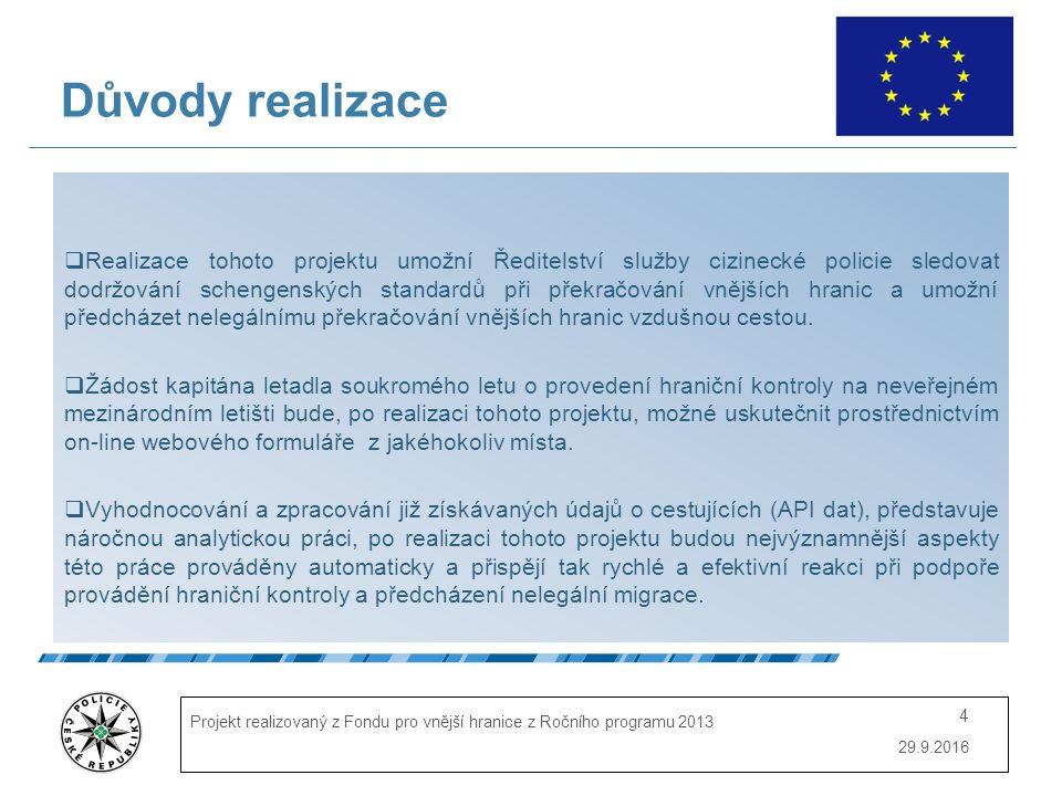 29.9.2016 Projekt realizovaný z Fondu pro vnější hranice z Ročního programu 2013 4 Důvody realizace  Realizace tohoto projektu umožní Ředitelství služby cizinecké policie sledovat dodržování schengenských standardů při překračování vnějších hranic a umožní předcházet nelegálnímu překračování vnějších hranic vzdušnou cestou.