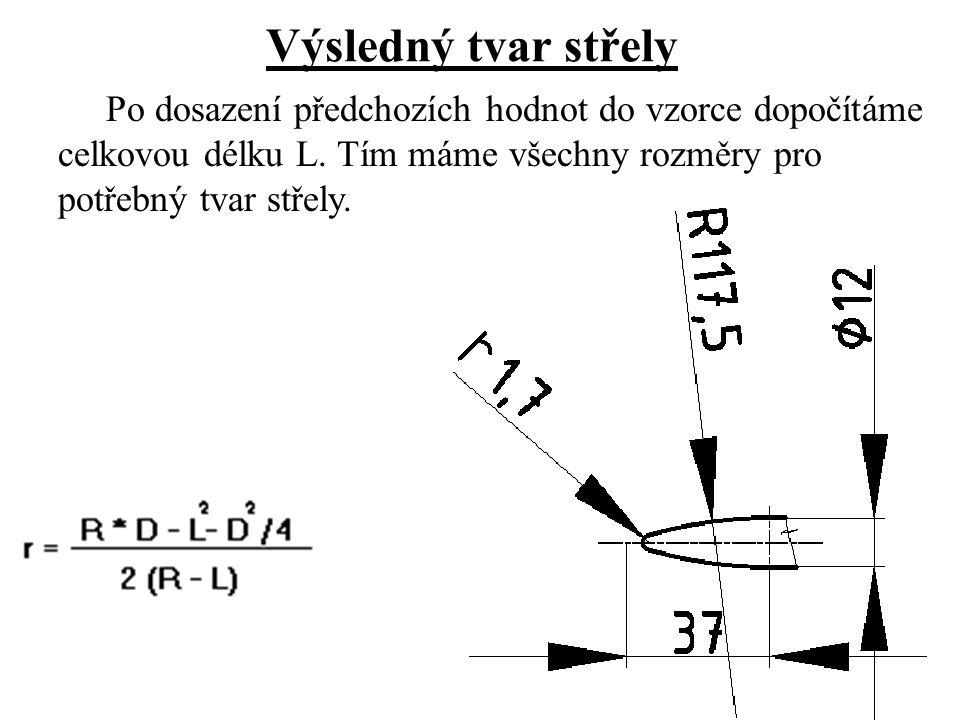 Výsledný tvar střely Po dosazení předchozích hodnot do vzorce dopočítáme celkovou délku L.