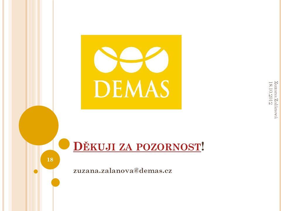 D ĚKUJI ZA POZORNOST D ĚKUJI ZA POZORNOST ! zuzana.zalanova@demas.cz Zuzana Zalánová 18.10.2012 18