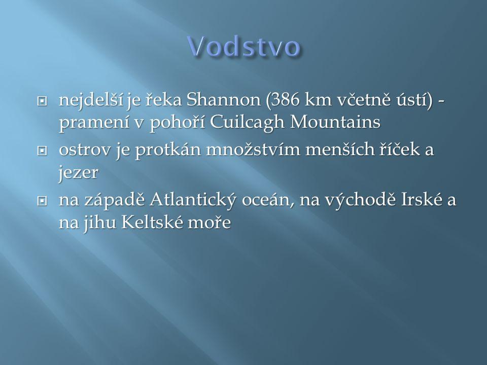  nejdelší je řeka Shannon (386 km včetně ústí) - pramení v pohoří Cuilcagh Mountains  ostrov je protkán množstvím menších říček a jezer  na západě