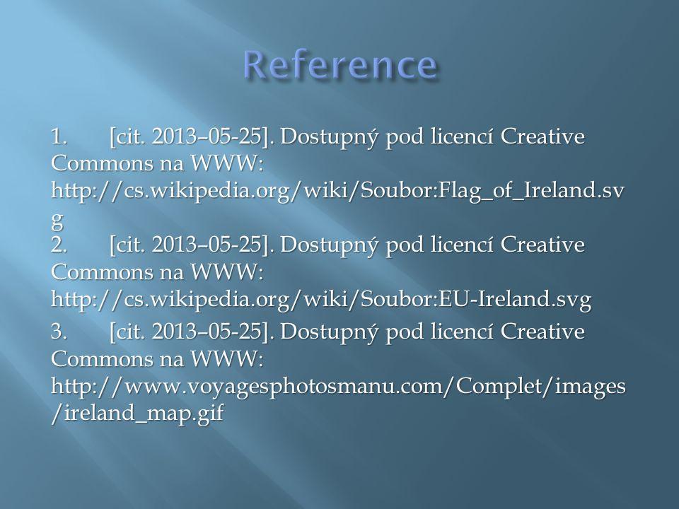 1.[cit. 2013–05-25]. Dostupný pod licencí Creative Commons na WWW: http://cs.wikipedia.org/wiki/Soubor:Flag_of_Ireland.sv g 2. [cit. 2013–05-25]. Dost