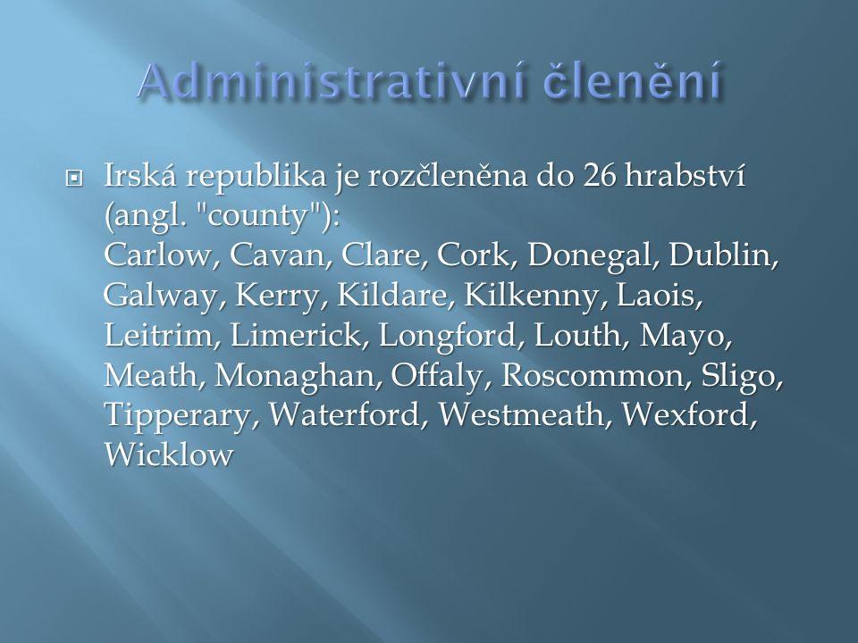  Irská republika je rozčleněna do 26 hrabství (angl.