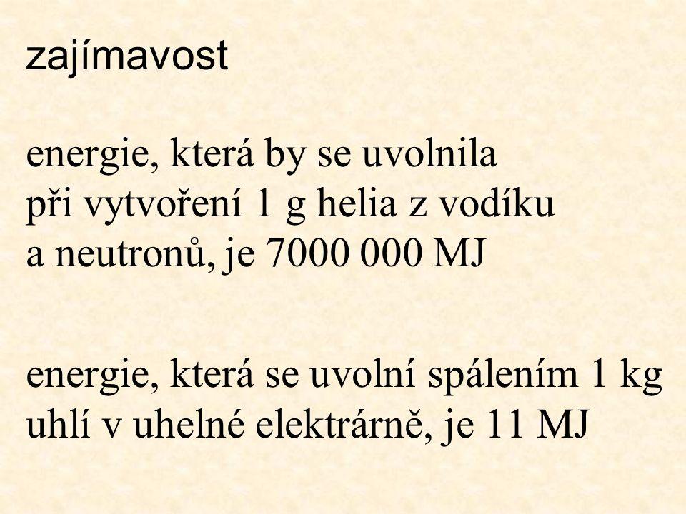 Hmotnostní úbytek = rozdíl mezi součtem hmotností všech částic atomu a hmotností neutrálního atomu Energie potřebná k rozdělení jádra je podle vzorce E = m.c 2
