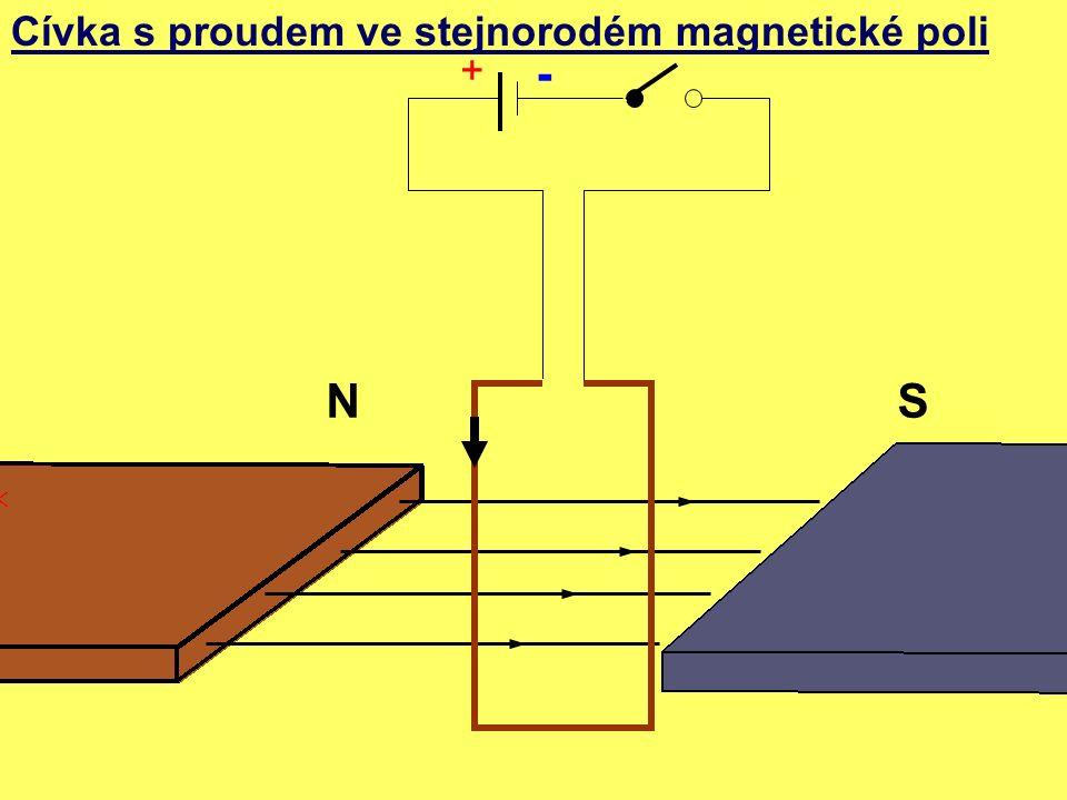Cívka s proudem ve stejnorodém magnetické poli NS + -