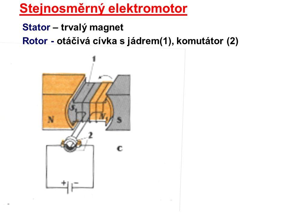 Stejnosměrný elektromotor Stator – trvalý magnet Rotor - otáčivá cívka s jádrem(1), komutátor (2)