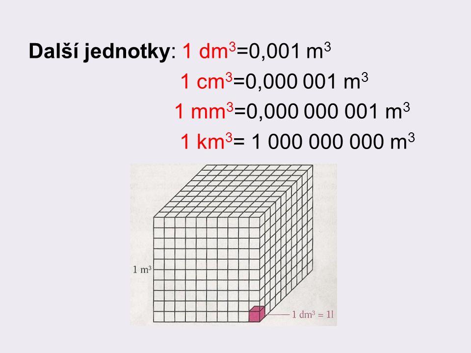 Další jednotky: 1 dm 3 =0,001 m 3 1 cm 3 =0,000 001 m 3 1 mm 3 =0,000 000 001 m 3 1 km 3 = 1 000 000 000 m 3