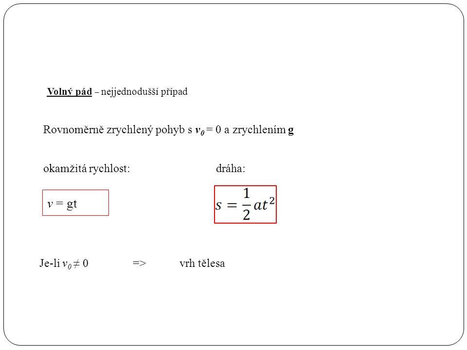 Volný pád – nejjednodušší případ Rovnoměrně zrychlený pohyb s v 0 = 0 a zrychlením g v = gt Je-li v 0 ≠ 0=>vrh tělesa okamžitá rychlost:dráha: