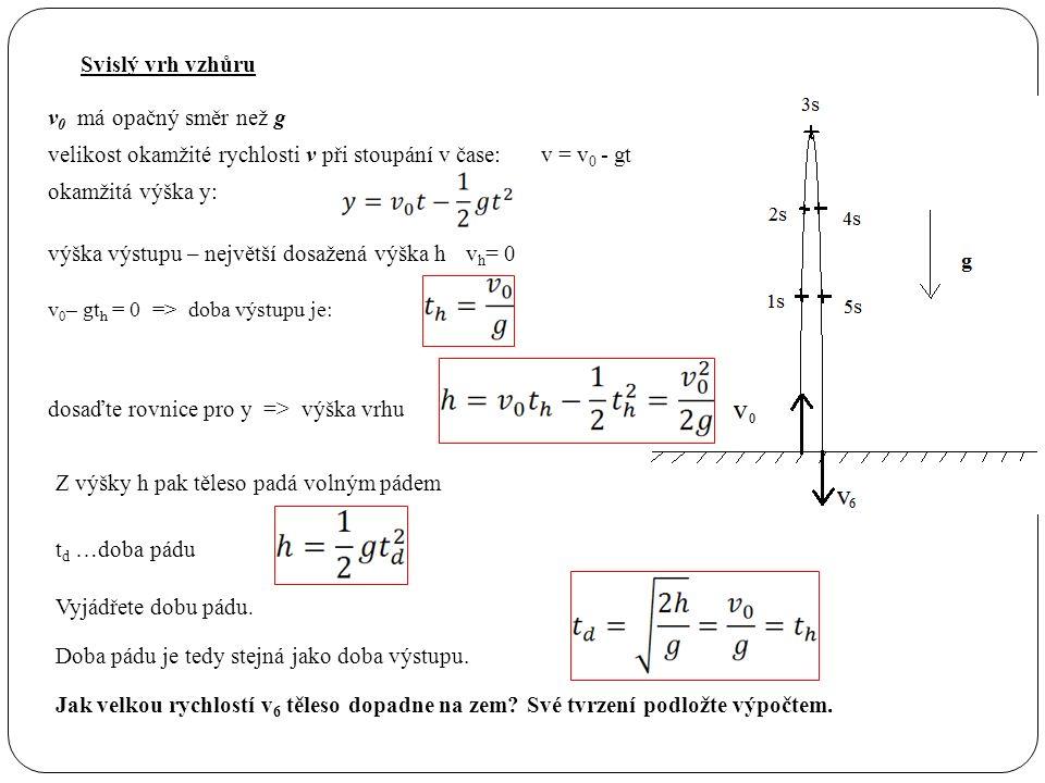 Svislý vrh vzhůru v 0 má opačný směr než g velikost okamžité rychlosti v při stoupání v čase:v = v 0 - gt výška výstupu – největší dosažená výška hv h = 0 v 0 – gt h = 0=> doba výstupu je: dosaďte rovnice pro y => výška vrhu okamžitá výška y: Z výšky h pak těleso padá volným pádem t d …doba pádu Doba pádu je tedy stejná jako doba výstupu.
