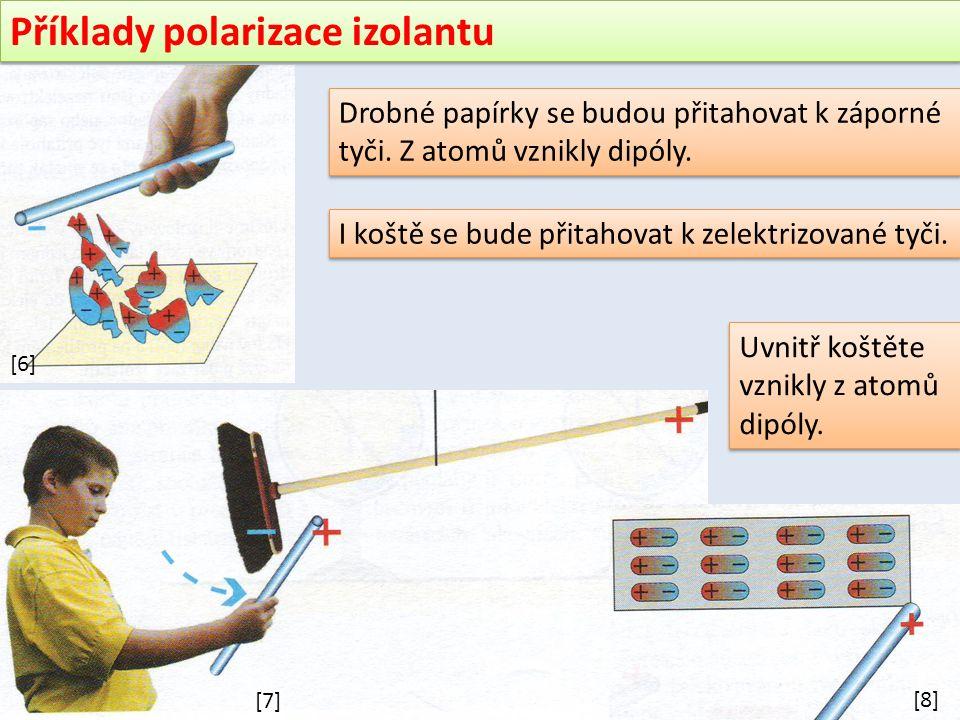 Příklady polarizace izolantu Drobné papírky se budou přitahovat k záporné tyči.