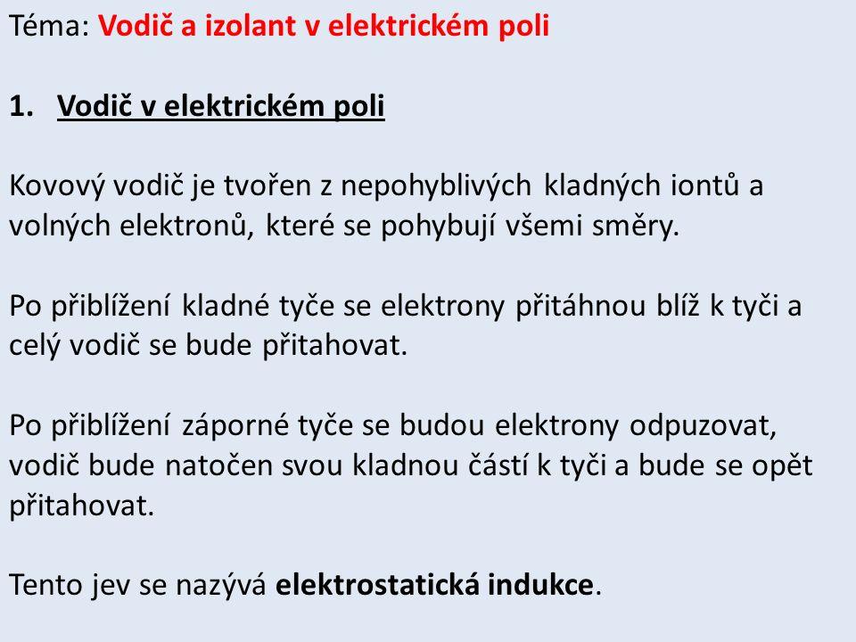 Téma: Vodič a izolant v elektrickém poli 1.Vodič v elektrickém poli Kovový vodič je tvořen z nepohyblivých kladných iontů a volných elektronů, které se pohybují všemi směry.