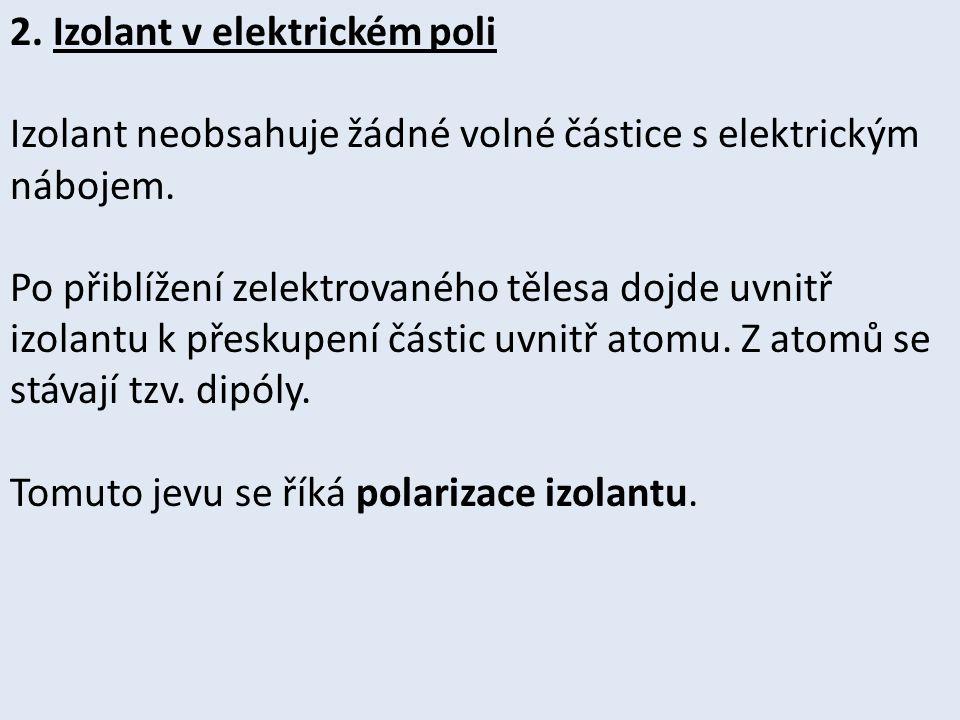 2. Izolant v elektrickém poli Izolant neobsahuje žádné volné částice s elektrickým nábojem.
