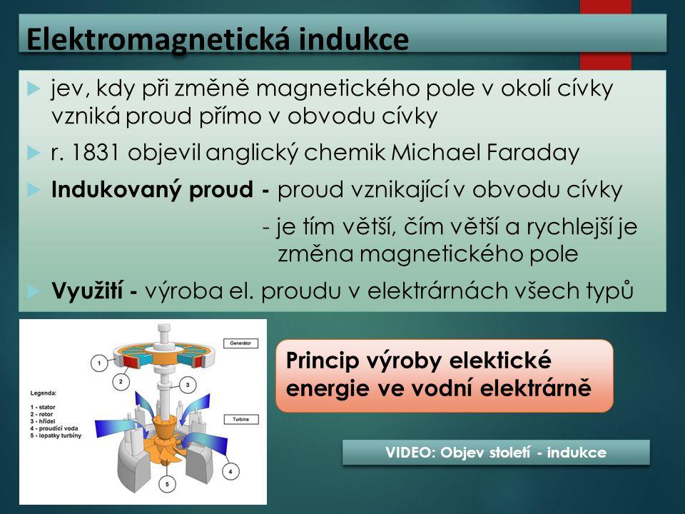 Elektromagnetická indukce  jev, kdy při změně magnetického pole v okolí cívky vzniká proud přímo v obvodu cívky  r. 1831 objevil anglický chemik Mic