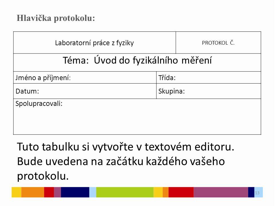 13 Hlavička protokolu: Laboratorní práce z fyziky PROTOKOL Č.