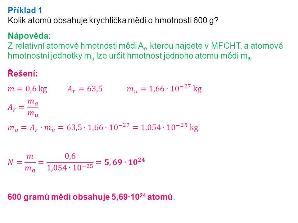 Příklad 1 Kolik atomů obsahuje krychlička mědi o hmotnosti 600 g.