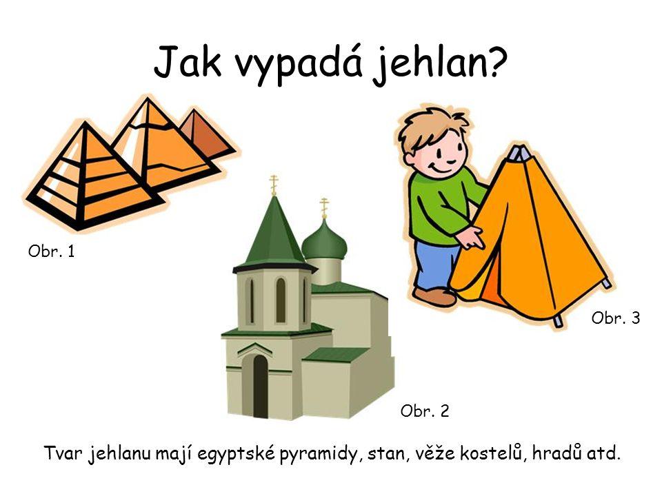 Jak vypadá jehlan? Tvar jehlanu mají egyptské pyramidy, stan, věže kostelů, hradů atd. Obr. 2 Obr. 1 Obr. 3