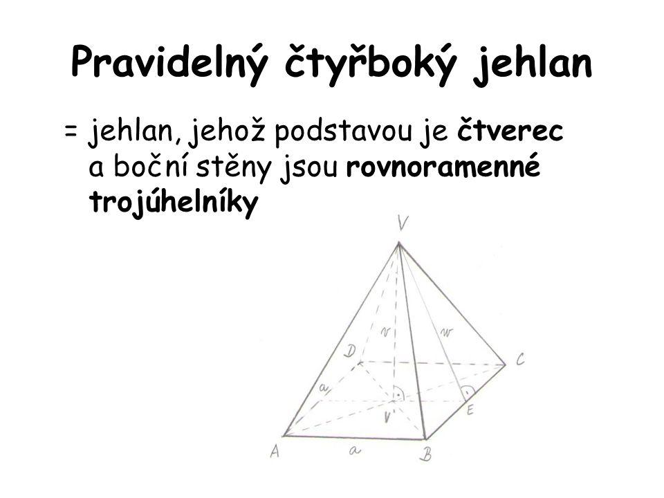 Pravidelný čtyřboký jehlan = jehlan, jehož podstavou je čtverec a boční stěny jsou rovnoramenné trojúhelníky.