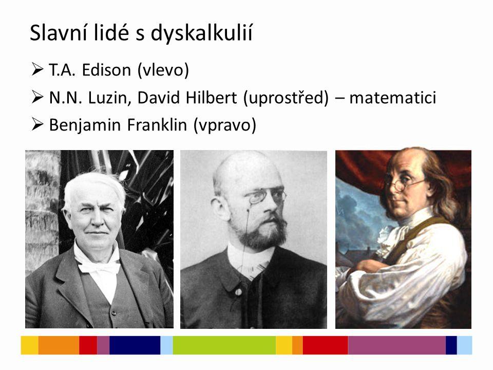 Slavní lidé s dyskalkulií  T.A. Edison (vlevo)  N.N.
