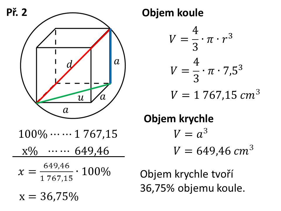 Objem krychle Př. 2 Objem koule Objem krychle tvoří 36,75% objemu koule.
