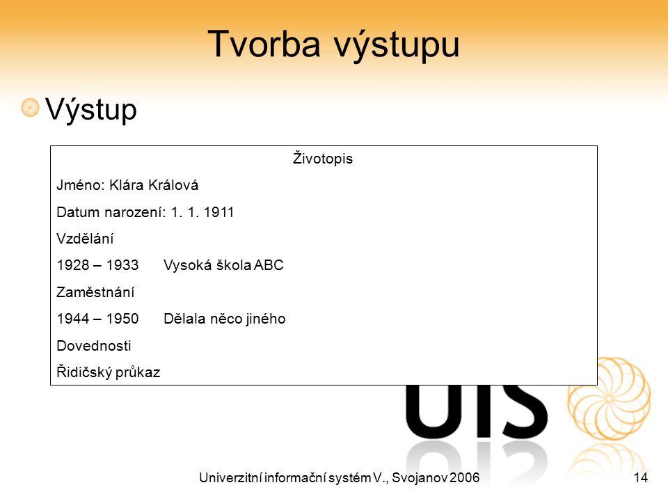 Univerzitní informační systém V., Svojanov 200614 Tvorba výstupu Výstup Životopis Jméno: Klára Králová Datum narození: 1. 1. 1911 Vzdělání 1928 – 1933