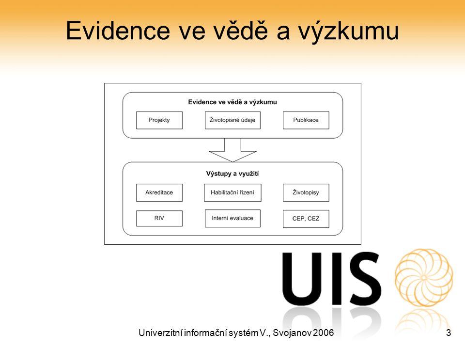 Univerzitní informační systém V., Svojanov 20063 Evidence ve vědě a výzkumu
