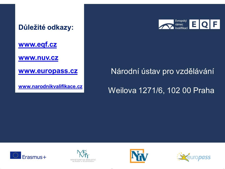 Důležité odkazy: www.eqf.cz www.nuv.cz www.europass.cz www.narodnikvalifikace.cz Národní ústav pro vzdělávání Weilova 1271/6, 102 00 Praha