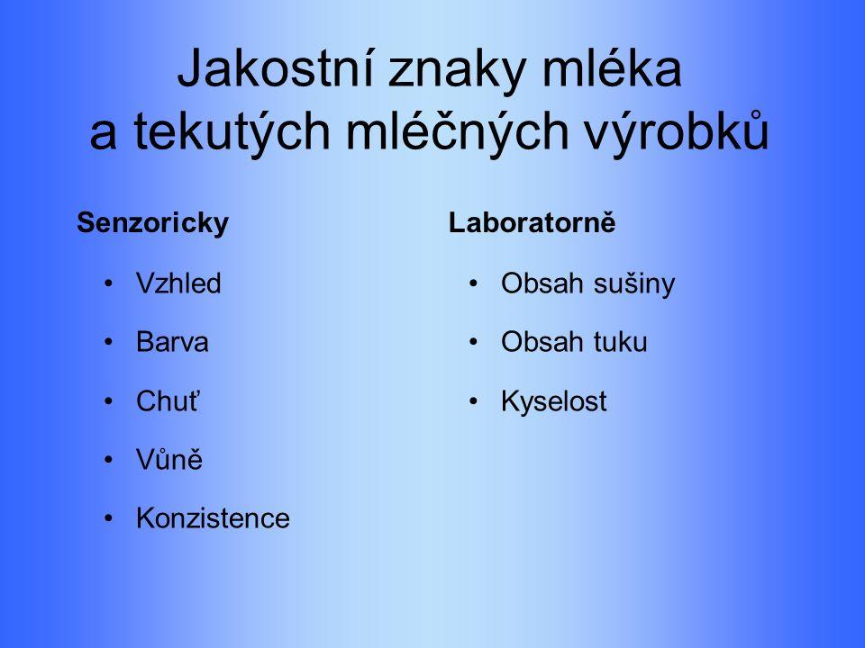 Jakostní znaky mléka a tekutých mléčných výrobků Senzoricky Vzhled Barva Chuť Vůně Konzistence Laboratorně Obsah sušiny Obsah tuku Kyselost