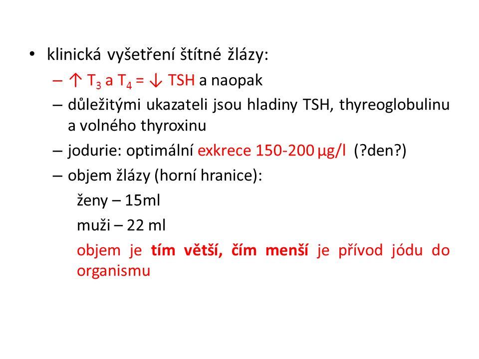 klinická vyšetření štítné žlázy: – ↑ T 3 a T 4 = ↓ TSH a naopak – důležitými ukazateli jsou hladiny TSH, thyreoglobulinu a volného thyroxinu – jodurie: optimální exkrece 150-200 μg/l (?den?) – objem žlázy (horní hranice): ženy – 15ml muži – 22 ml objem je tím větší, čím menší je přívod jódu do organismu