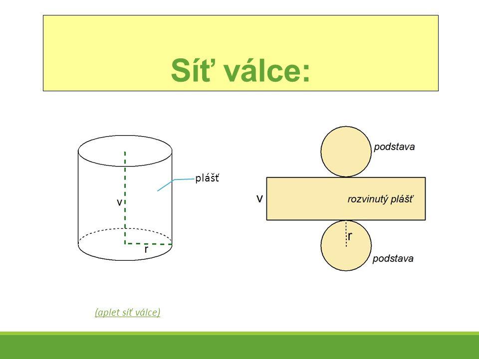 Příklady 1)Narýsuj síť válce, je-li poloměr podstavy 2 cm a výška válce 4 cm.