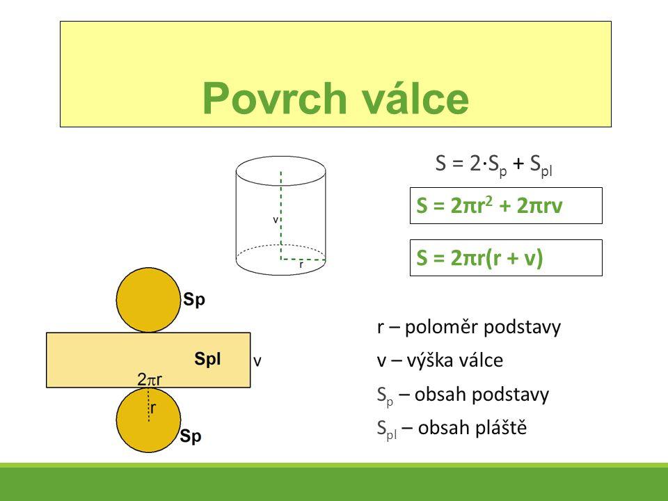 Povrch válce S = 2∙S p + S pl r – poloměr podstavy v – výška válce S p – obsah podstavy S pl – obsah pláště S = 2πr 2 + 2πrv S = 2πr(r + v)