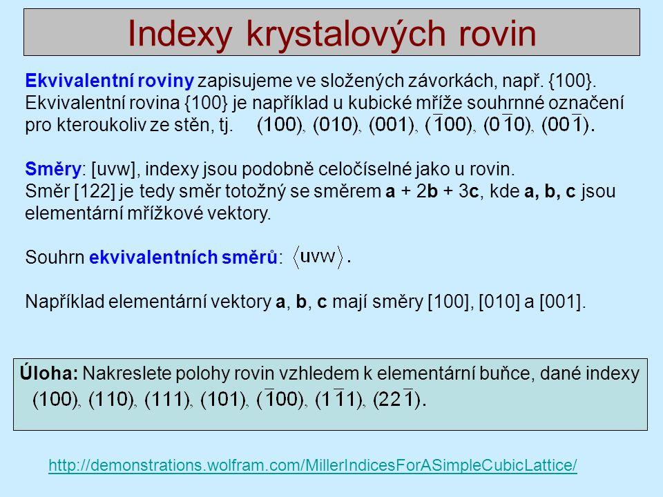Úloha: Nakreslete polohy rovin vzhledem k elementární buňce, dané indexy Ekvivalentní roviny zapisujeme ve složených závorkách, např.