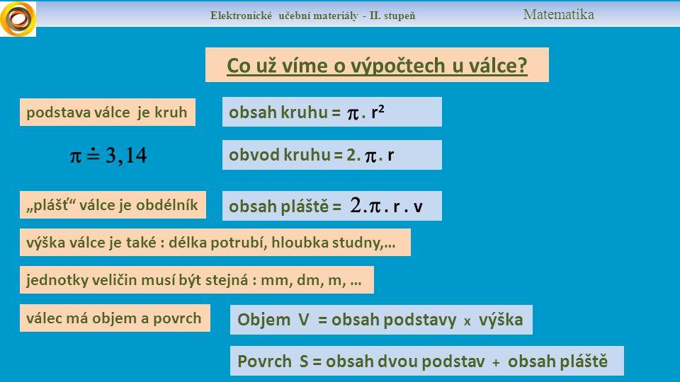Elektronické učební materiály - II. stupeň Matematika Co už víme o výpočtech u válce.