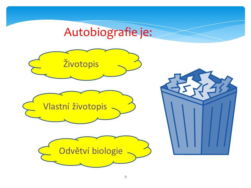 9 Životopis Odvětví biologie Vlastní životopis Autobiografie je: