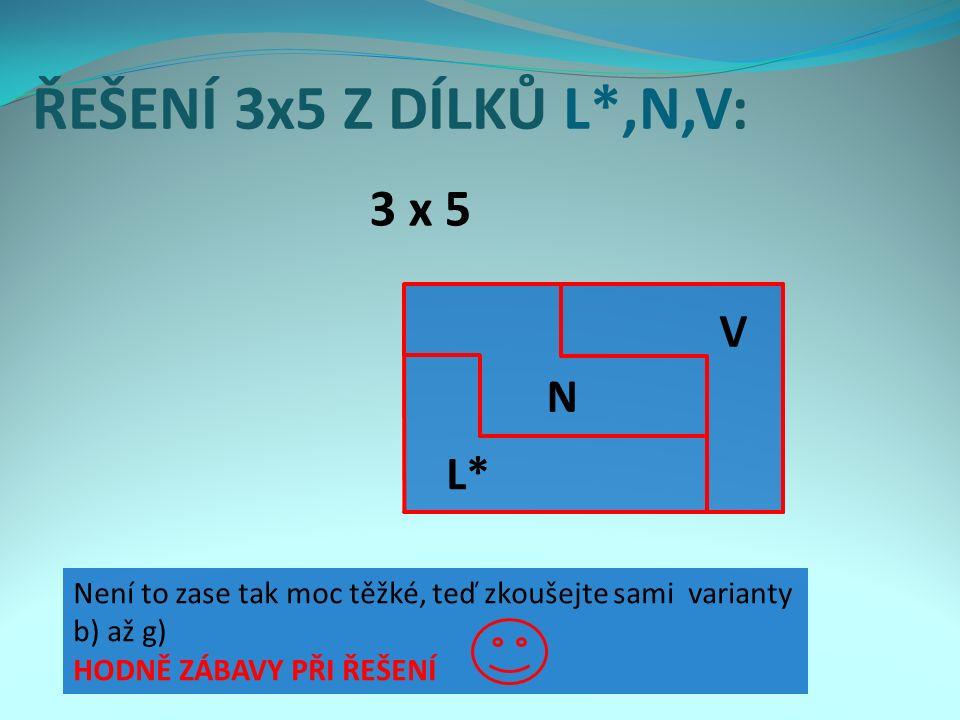 ŘEŠENÍ 3x5 Z DÍLKŮ L*,N,V: 3 x 5 L*L* N V Není to zase tak moc těžké, teď zkoušejte sami varianty b) až g) HODNĚ ZÁBAVY PŘI ŘEŠENÍ