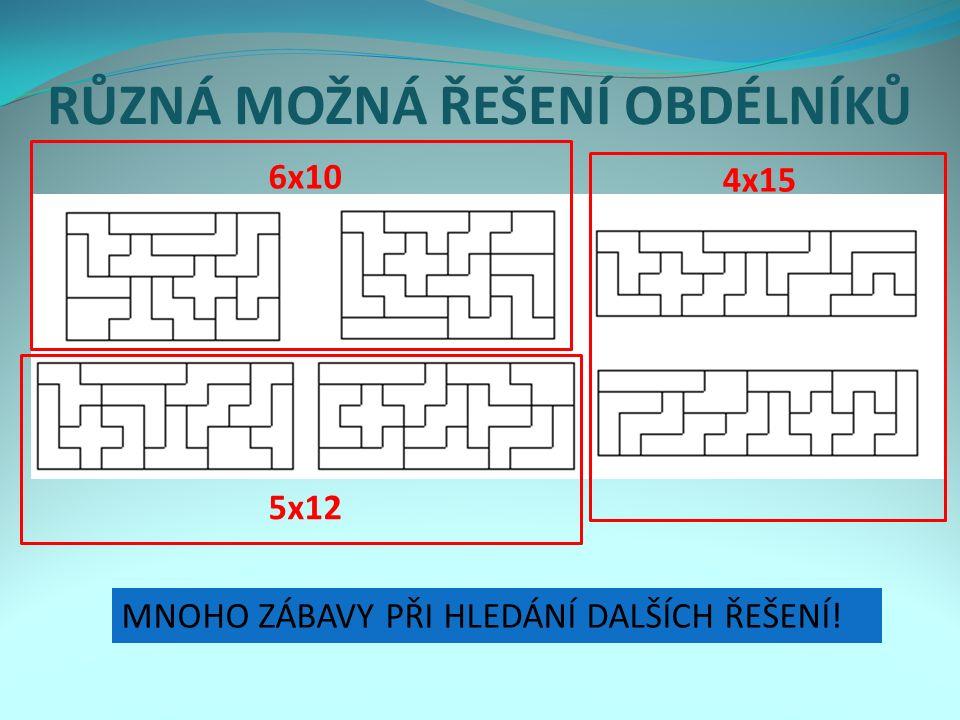 Solutions for the 3x20 rectangles RŮZNÁ MOŽNÁ ŘEŠENÍ OBDÉLNÍKŮ MNOHO ZÁBAVY PŘI HLEDÁNÍ DALŠÍCH ŘEŠENÍ.