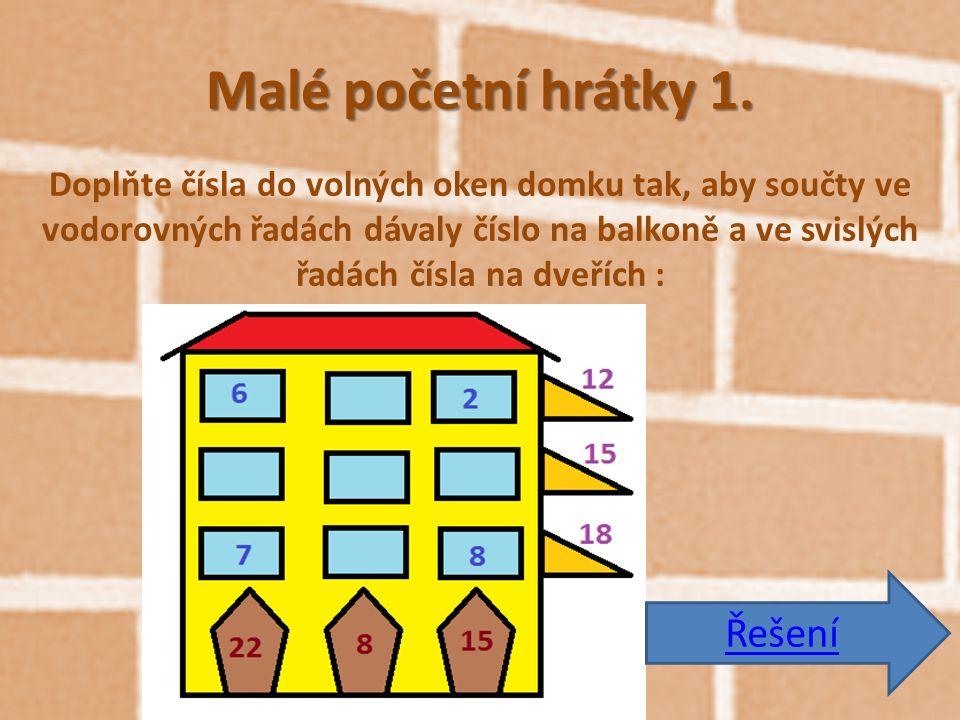 Malé početní hrátky 1. Doplňte čísla do volných oken domku tak, aby součty ve vodorovných řadách dávaly číslo na balkoně a ve svislých řadách čísla na