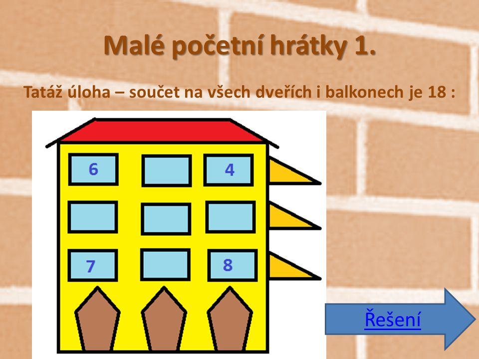 Malé početní hrátky 1. Tatáž úloha – součet na všech dveřích i balkonech je 18 : Řešení