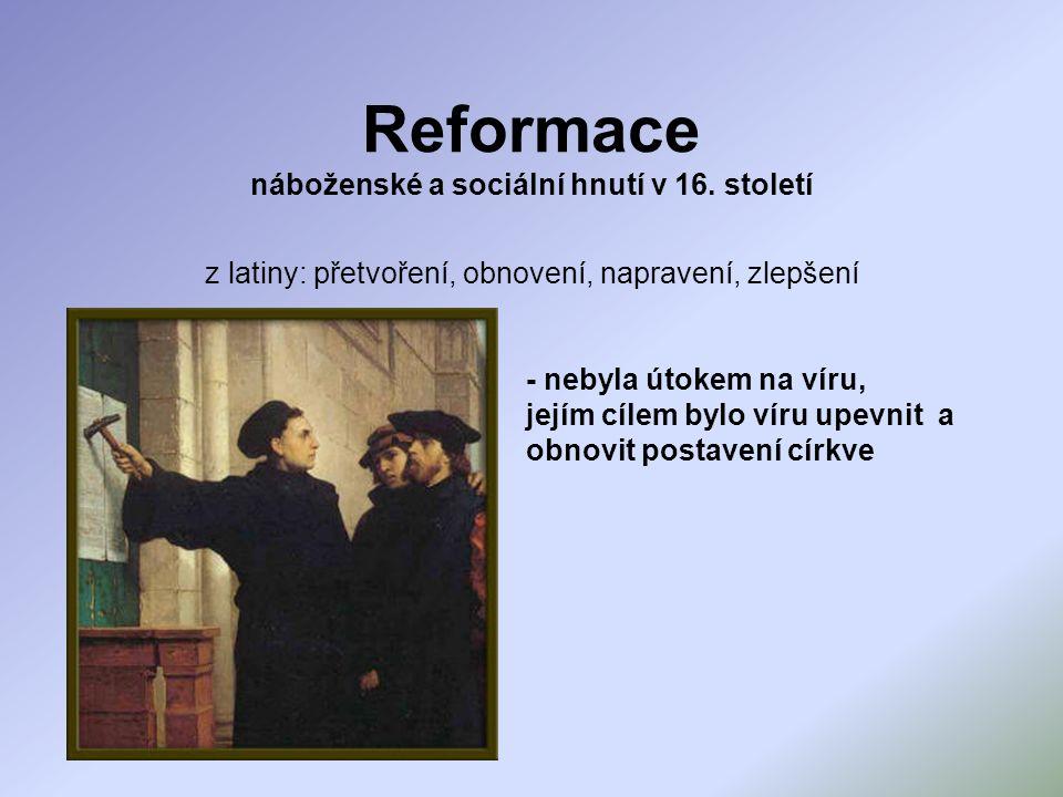 Reformace náboženské a sociální hnutí v 16.