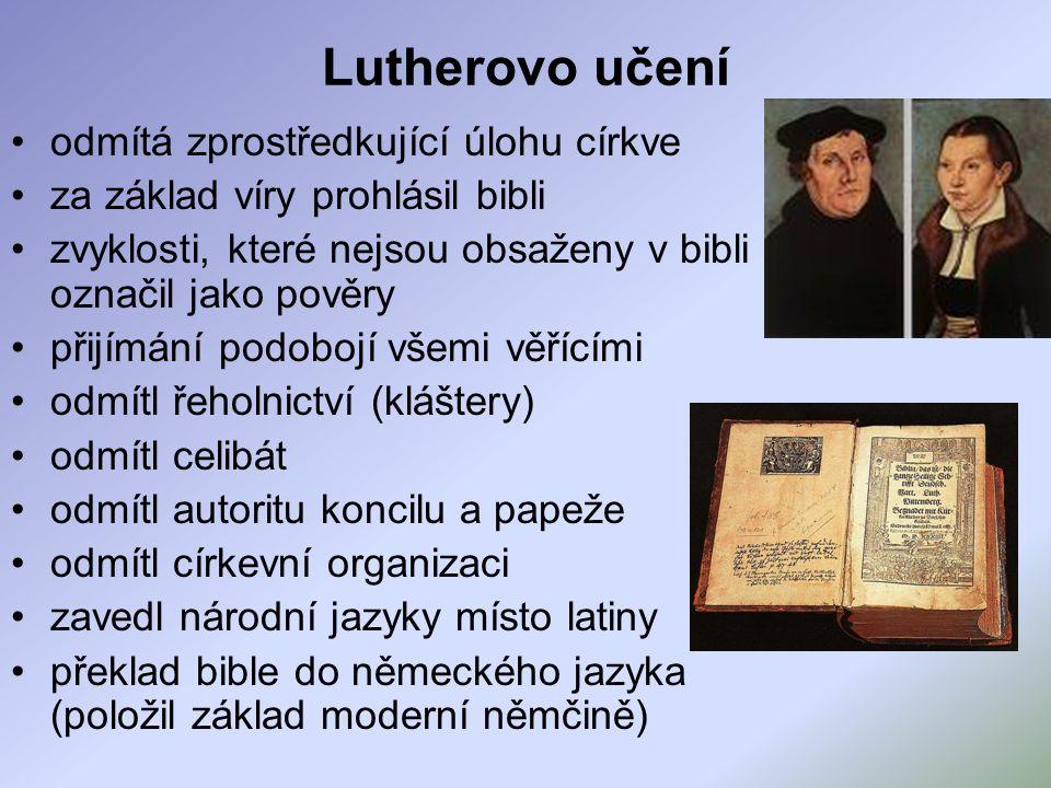 Lutherovo učení odmítá zprostředkující úlohu církve za základ víry prohlásil bibli zvyklosti, které nejsou obsaženy v bibli označil jako pověry přijímání podobojí všemi věřícími odmítl řeholnictví (kláštery) odmítl celibát odmítl autoritu koncilu a papeže odmítl církevní organizaci zavedl národní jazyky místo latiny překlad bible do německého jazyka (položil základ moderní němčině)
