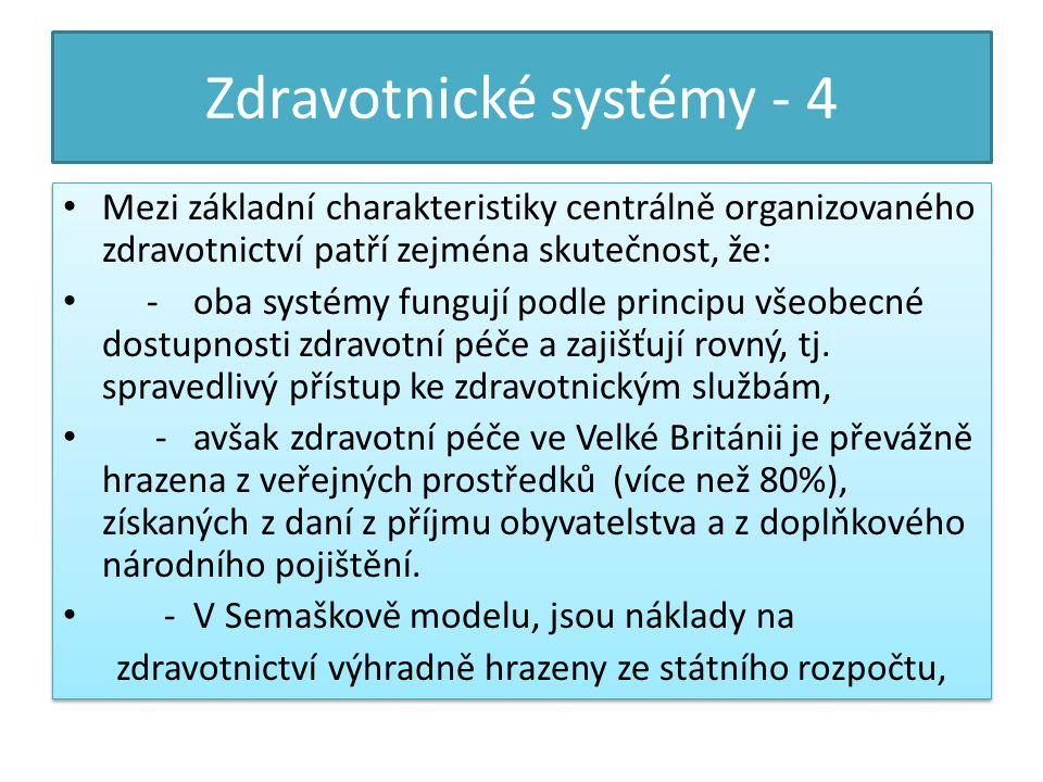 Zdravotnické systémy - 4 Mezi základní charakteristiky centrálně organizovaného zdravotnictví patří zejména skutečnost, že: - oba systémy fungují podle principu všeobecné dostupnosti zdravotní péče a zajišťují rovný, tj.