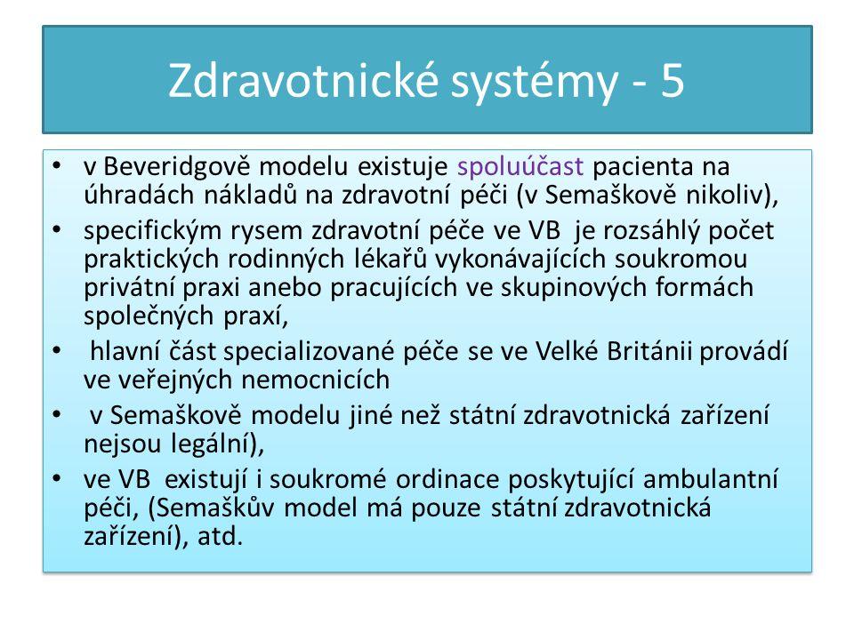 Zdravotnické systémy - 6 c) Systém s převahou liberalistických prvků který dnes představují Spojené státy americké.